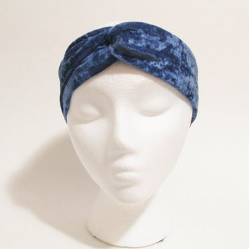 Crushed Velvet Blue Turband Headband, Knotted Twisted Turban, Teen Gift Accessory, Womens Teens Tweens, Christmas Gift, Free US Ship