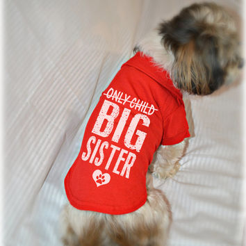 Only Child Big Sister Small Dog Polo Shirt. Pet Clothes. New Baby Gift Idea. Big Sister Dog Shirt.