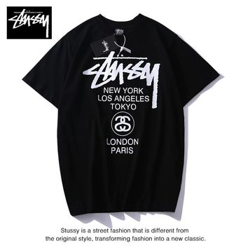 Hot Tunic stussy t shirt Women Man Fashion Print Sport Shirt Top Tee