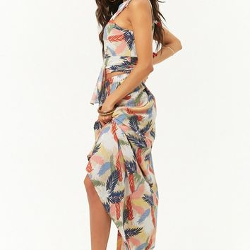 Tropical Palm Print Top & Maxi Skirt Set