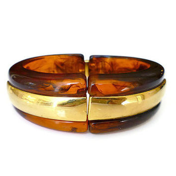 Napier Lucite Bracelet, Tortoise Shell, Brown, Root Beer, Gold Tone, Clamper Bangle, Vintage Jewelry
