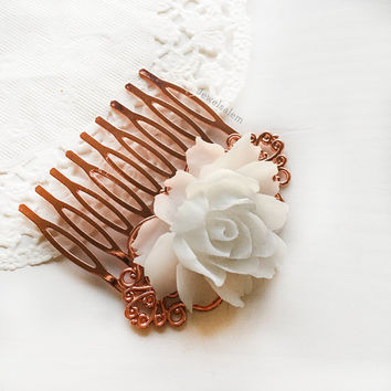 Rose Gold Hair Comb White Wedding Hair Adornment Bridal Hair Slide Elegant Bridesmaids Hair Clip Gift Romantic Modern Rustic