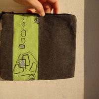 Grey Green Hand Painted  Clutch Bag