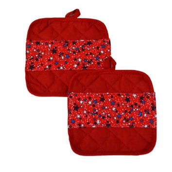 Patriotic Pot Holders, Set of 2, Stars and Stripes, 4th of July, Kitchen Accessory, Red Decor, Chef Gift, Hostess Gift, Kitchen Decor