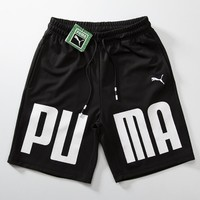 PUMA Fashion Women Men Casual Leopard Embroidery Letter Print Sports Running Pure Cotton Shorts Black I12685-1