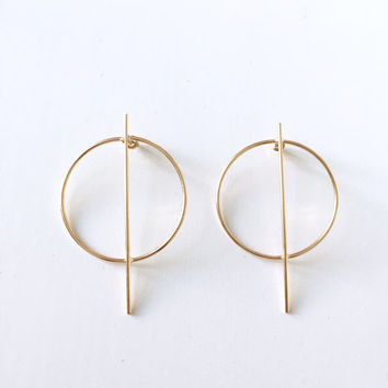 Oversized hoop bar earrings, geometric earrings, minimal earrings