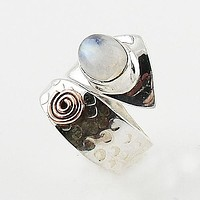 Moonstone Sterling Silver Copper Spiral Adjustable Ring