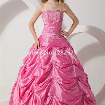 Hot Pink Elegant Quinceanera Dresses 2017 Sweet 16 Dresses Appliques Beading Ball Gown vestidos de 15 anos Formal Party Gowns