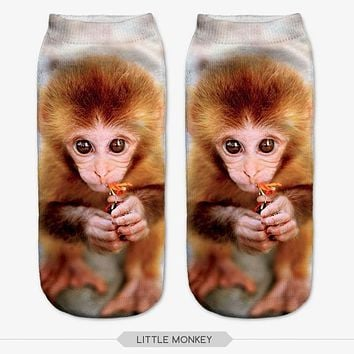 New 3D Print Harajuku Style Socks For Women and Men  Animal Different Patterns  Casual Polyester Sock Spring and Autumn Hot Sale
