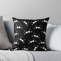 'Cute Black Cat Pattern' Throw Pillow by ValentinaHramov