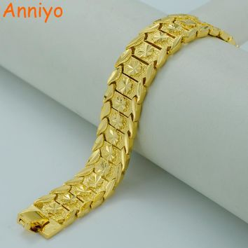Anniyo 20.5CM,Gold Bracelet for Women/Men Gold Color & Brass,Dubai Bangles Africa Hand Chain Jewelry Ethiopian/Arab #002007