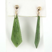 Vintage Jade Dangle Earrings 14 Karat Yellow Gold Estate Fine Jewelry Heirloom