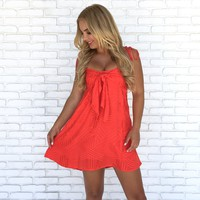 Floss Embroider Summer Red Dress