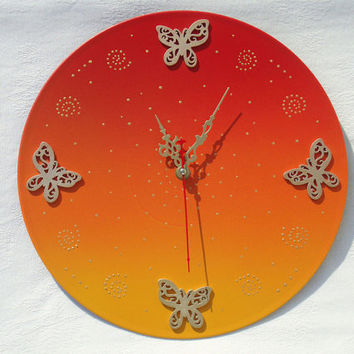 Wall Clock Butterflies on Sunrise, unique gift, kids clocks, orange clock, unique wall clocks, decorative wall clocks, modern wall clocks