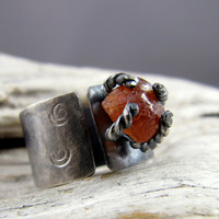 Hessonite Garnet Spiral Design Silver Ring by ElementalAlchemist