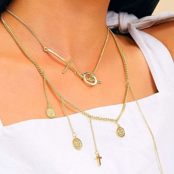Multi Cross & Coin Charm Chain Necklace 2pcs