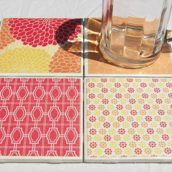 4 Tile Coasters in Summertime Heat Theme