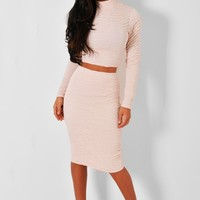 Balbina Nude Ruched Effect Midi Skirt | Pink Boutique