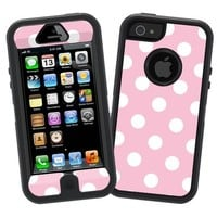"White Polka Dot on Baby Pink ""Protective Decal Skin"" for Otterbox Defender iPhone 5 Case"