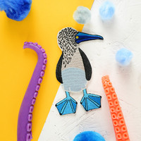 Boobies Pre-Order BLUE FOOTED BOOBY Patch Embroidered Patches to iron on Shirts, Denim Jackets, Cushions, Quilts, Skirts, Backpacks.