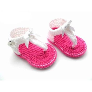 Handmade Crochet Baby Girl Shoes Sizes 0-9 Months 100% Cotton