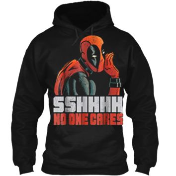 Marvel Deadpool SSHHHH No One Cares Whisper Graphic  Pullover Hoodie 8 oz