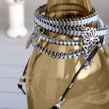 Ombre Gray macrame ARM PARTY, leather stacking bracelet, seed bead and leather boho bracelet,