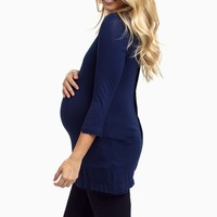 Navy-Blue-Basic-Button-Back-3/4-Sleeve-Maternity-Top