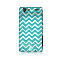 Head Case Designs Cyan Chevron Pattern Protective Snap-on Hard Back Case Cover for Motorola DROID RAZR XT910
