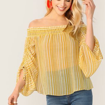 Striped Off Shoulder Sheer Long Sleeve Blouse