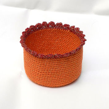Orange and gold small crochet basket for little items - FREE SHIPPING!