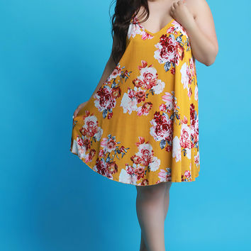 Plus Size Floral Trapeze Sleeveless Dress | UrbanOG