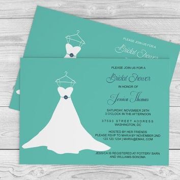 Wedding Gown Bridal Shower Invitation Template - 5x7 Teal & Navy Wedding Dress Bridal Shower Editable PDF Templates - DIY You Print