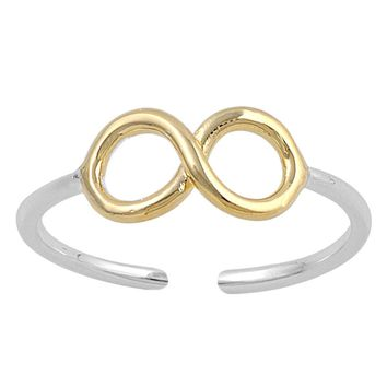 Sterling Silver Two Toned Infinity 5MM Toe Ring/ Knuckle/ Mid-Finger