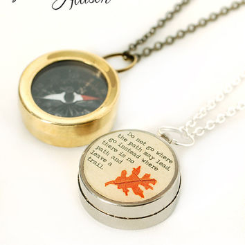 Small Working Compass Necklace with Real Leaf and Emerson Quote, Do Not Go Where the Path May Lead, Graduation Gift, Inspirational