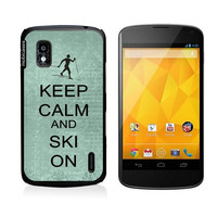 Keep Calm And Ski On Teal-Floral Google Nexus 4 Case - For Nexus 4