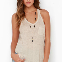 One of These Days Beige Tank Top