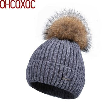 women new Chenille beanies real fox pompons winter hats soft yarn high quality warmer knitted striped woman girl skullies gorros
