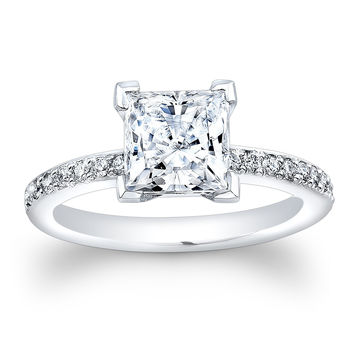 Women's 14kt white gold antique diamond engagement ring with 2ct Princess Cut White Sapphire center 0.25 ctw diamonds