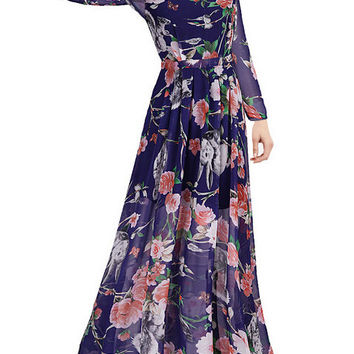 Blue Round Neck Owl Print Chiffon Maxi Dress