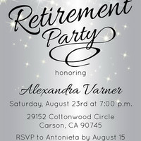 Silver Retirement Party Invitation - Retirement Party Invite - Sparkly Invitations