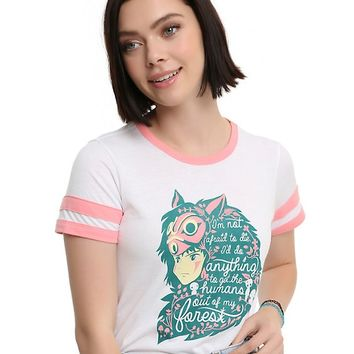 Her Universe Studio Ghibli Princess Mononoke Quote Fill Athletic Girls Ringer T-Shirt