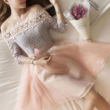 Fashion sexy off shoulder lace splicing half sleeve show thin dress
