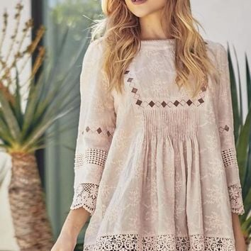 Scalloped Crochet Lace Tunic