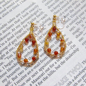 Carnelian Gemstone Clip on Earrings |5E| Teardrop Clip on earring| Non Pierced Earring| Wedding Clip on Earring| Bridal Clip on earrings