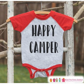 Kids's Happy Camper Outfit - Red Raglan Shirt or Onepiece - Kids Baseball Tee - Camp Shirt for Baby, Toddler, or Youth - Adventure Clothing