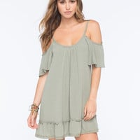 Lottie & Holly Cold Shoulder Dress Olive  In Sizes