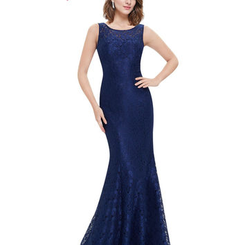 Elegant Evening Dress Ever Pretty New Arrival 2017 HE08825 Women Elegant Round Neck Plus Size Long Formal Evening Dress Lace