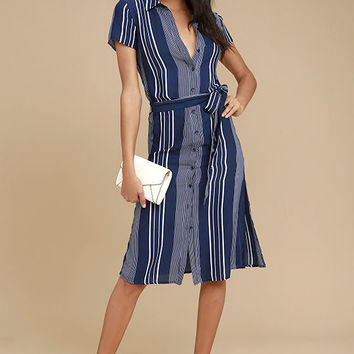 All of My Love Navy Blue and White Striped Belted Dress