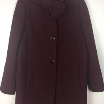 Kate Spade Bow Neck Wool Coat in Burgundy Wine Size 2 Msrp $698